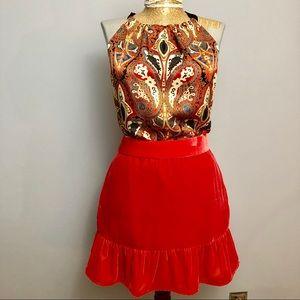 JCrew Poppy colored ruffle velvet skirt